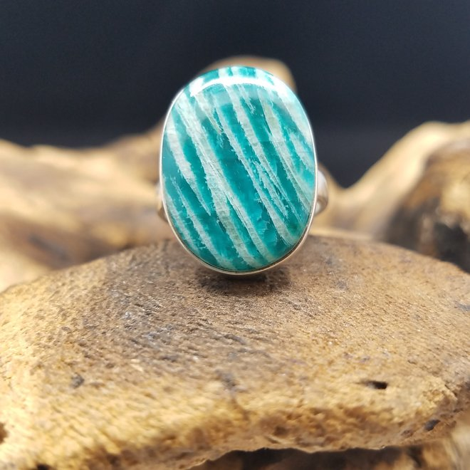 Amazonite Ring - Size 6.5 - Sterling Silver Large Oval