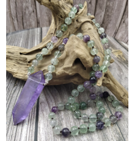 Handmade Fluorite Necklace w/Amethyst point