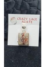 Crazy Lace Agate Square Pendant