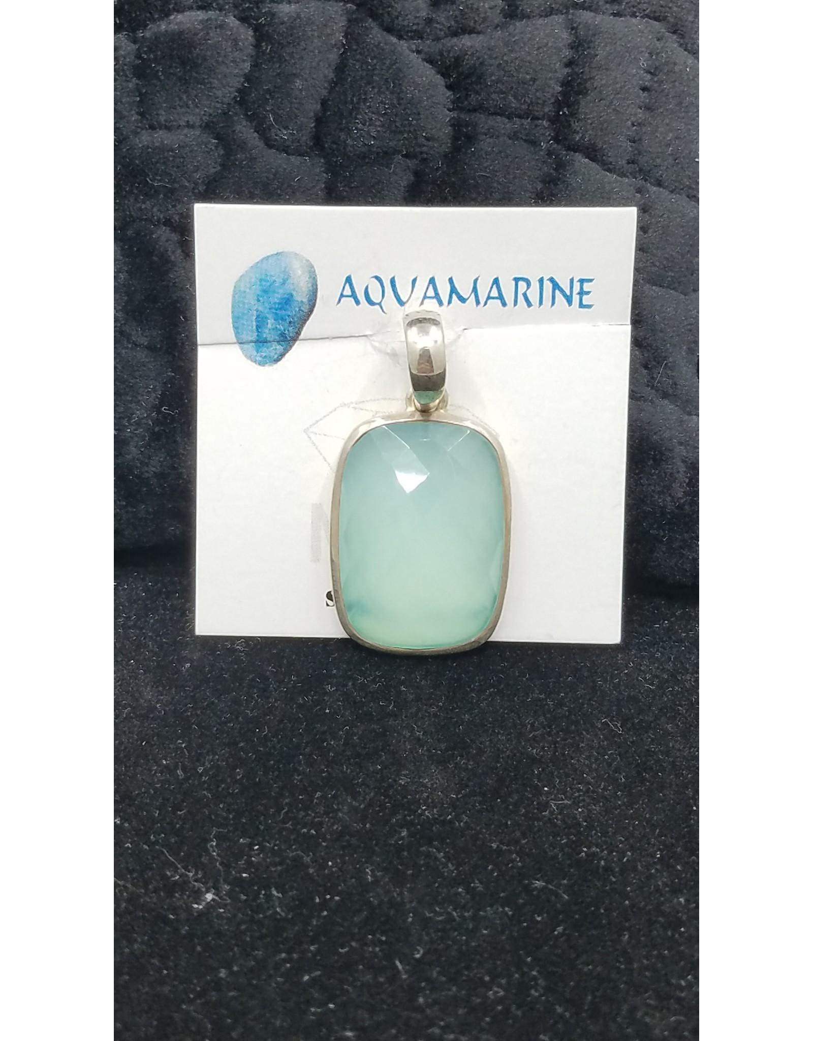 Aquamarine Rectangle Pendant