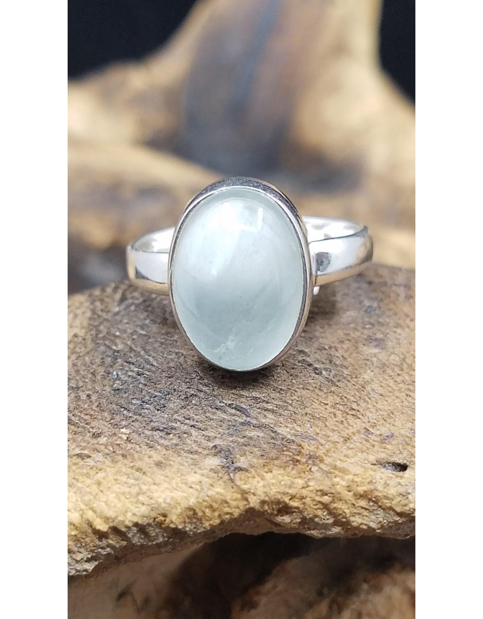 Aquamarine Oval Ring - Size 9