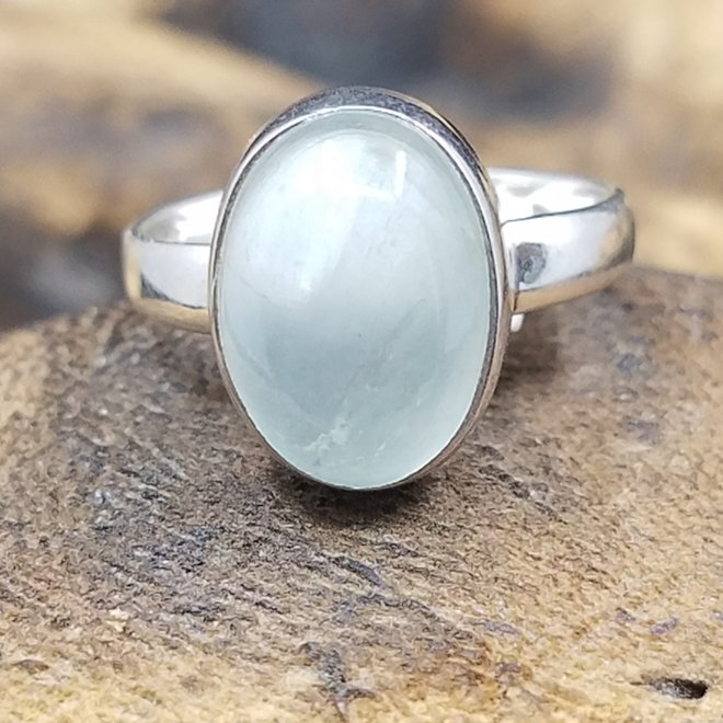 Aquamarine Ring - Size 9 - Sterling Silver Oval