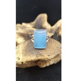 Blue Chalcedony Rectangle Ring - Size 9