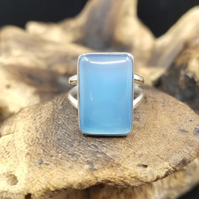 Blue Chalcedony Ring - Size 9 - Sterling Silver Large Rectangle