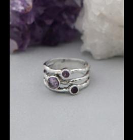 Triple Amethyst Ring - Size 8