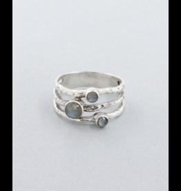 Triple Labradorite Ring - Size 6