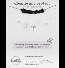 Seed Necklace - Black Tourmaline - Cleanse & Protect - SoulKu
