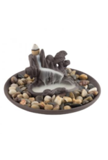 Waterfall Clay w/Plate Backflow Incense Cone Burner