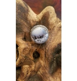 Madagascar Dendritic Opal Round Ring - Size 12