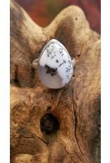 Dendritic Opal Tear Drop Ring - Size 11