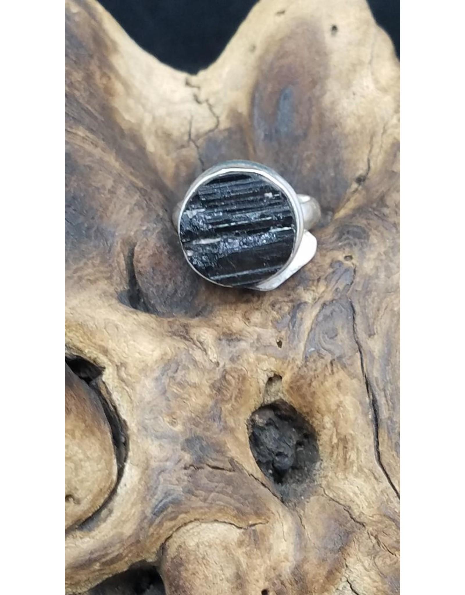 Black Tourmaline Rough Round Ring - Size 8