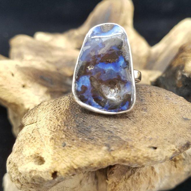 Boulder Opal Natural Ring 1 - Adjustable Sterling Silver