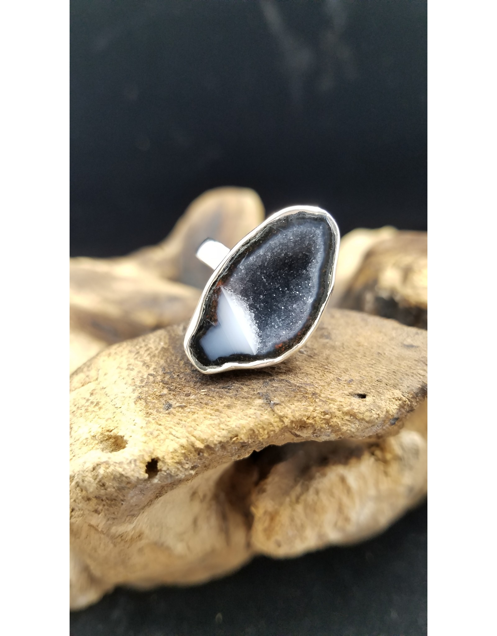 Black Agate Ring 1 - Adjustable