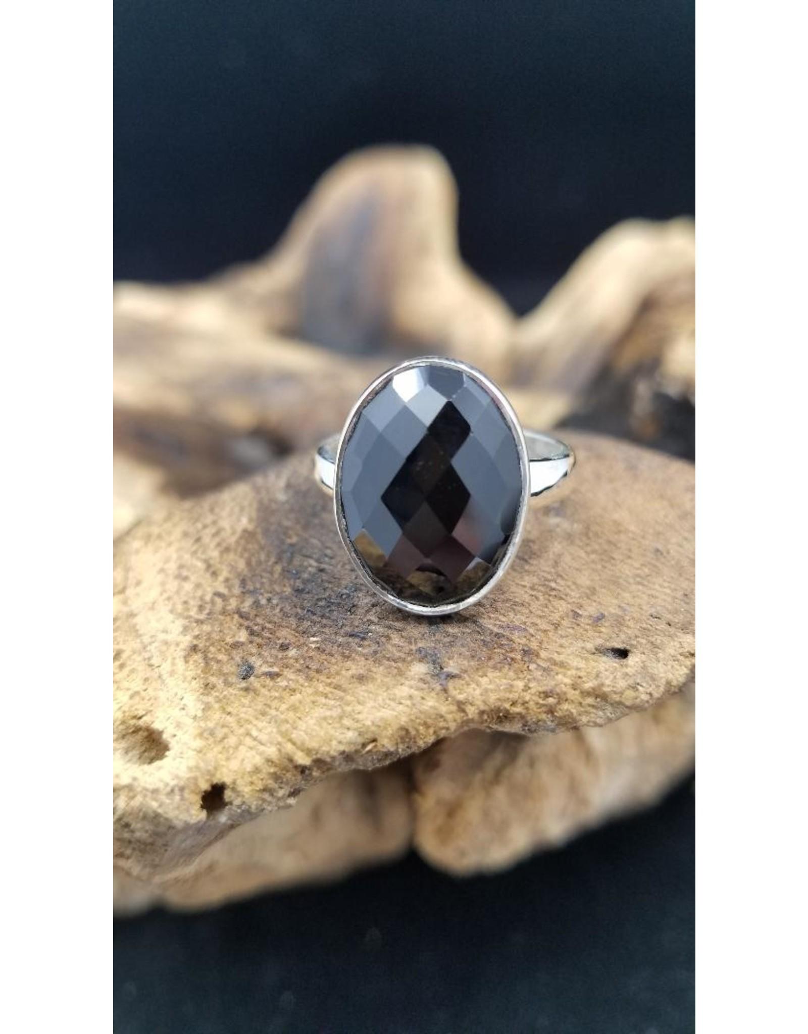 Black Spinel Ring - Adjustable