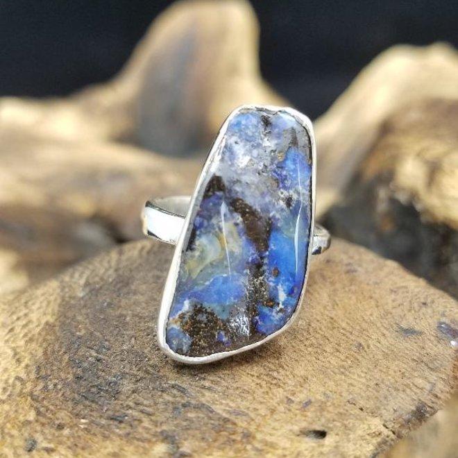 Boulder Opal Natural Ring 4 - Adjustable Sterling Silver