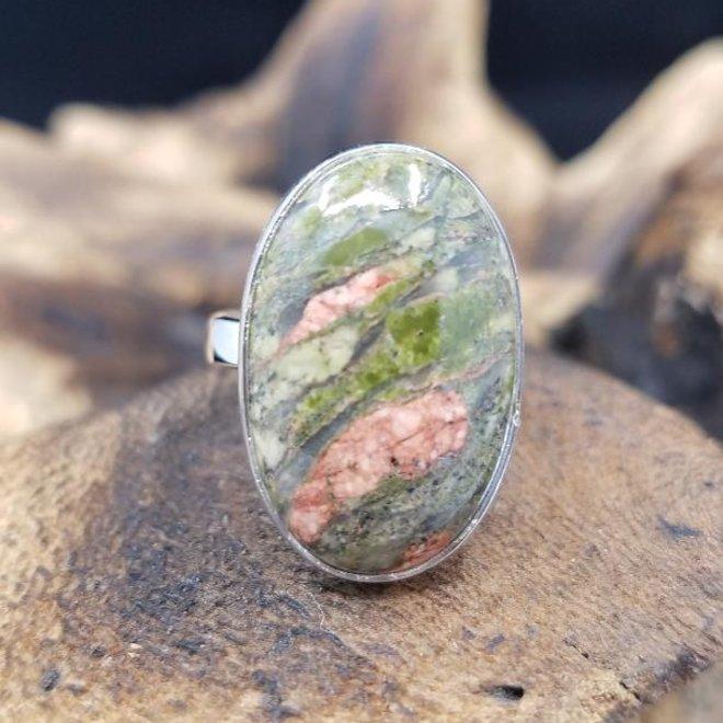 Unakite Jasper Oval Ring 2 - Adjustable Sterling Silver