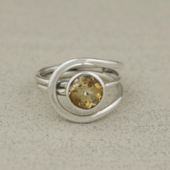 Citrine Gemstone Ring - Size 6 - Sterling Silver
