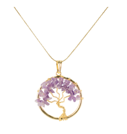Tree of Life Necklace - Amethyst (Gold)