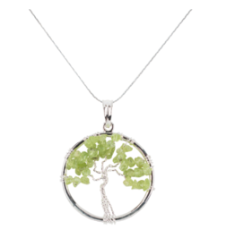 Tree of Life Necklace - Peridot (Silver)