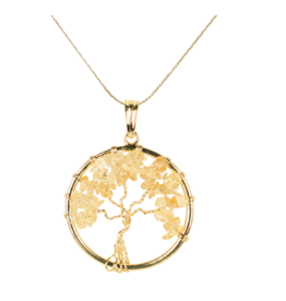 Tree of Life Necklace - Carnelian (Gold)