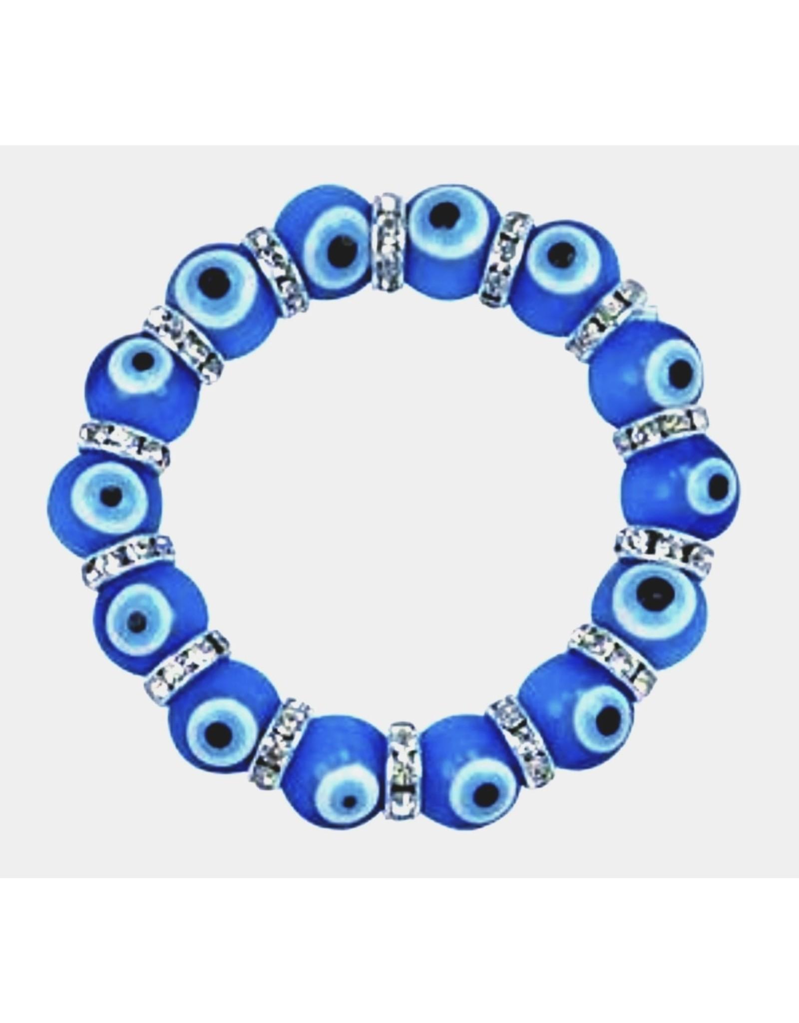 Bracelet -Evil Eye  - Light Blue w/ Charm