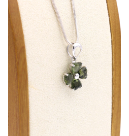 Moldavite 4 Leaf Clover Pendant