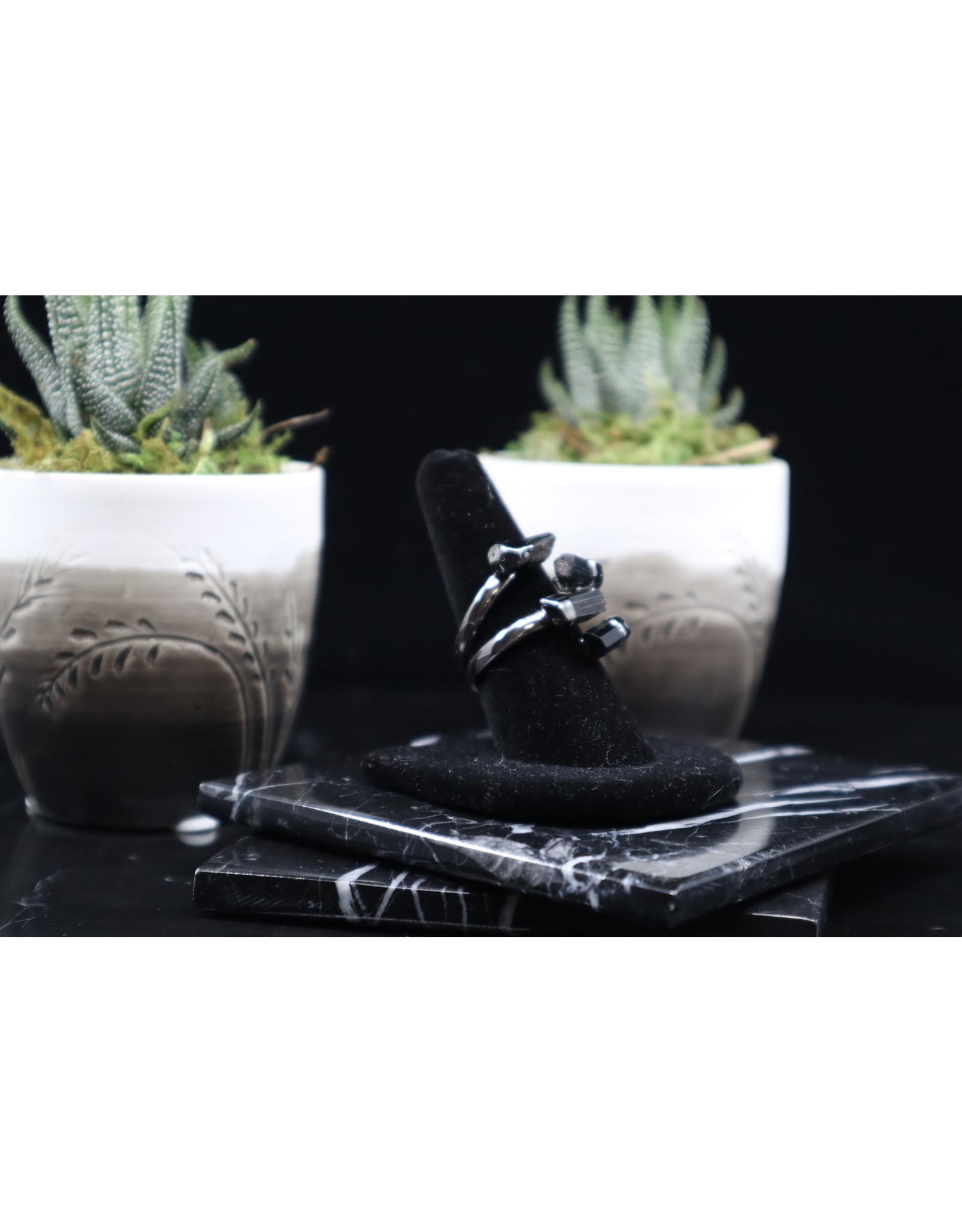 Black Tourmaline Ring - 4 stone