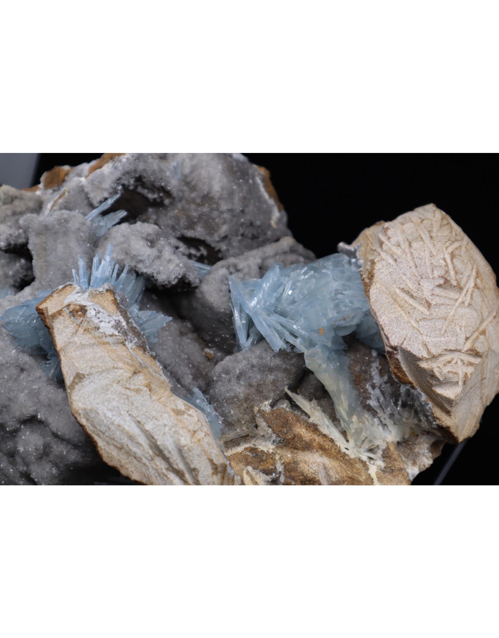 Blue Barite Cluster on Dolomite Specimen
