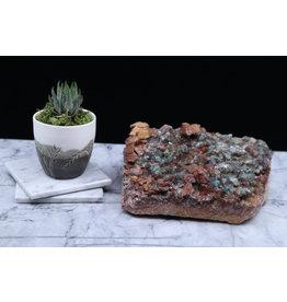 Rosasite & Selenite on Ferroan Dolomite Specimen - Rough