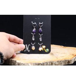 Titanium Earrings: Amethyst, Clear Quartz, Citrine