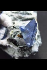 Benitoite and Neptunite on Natrolite Specimen