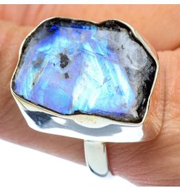 Rough Rainbow Moonstone Ring - Size 10