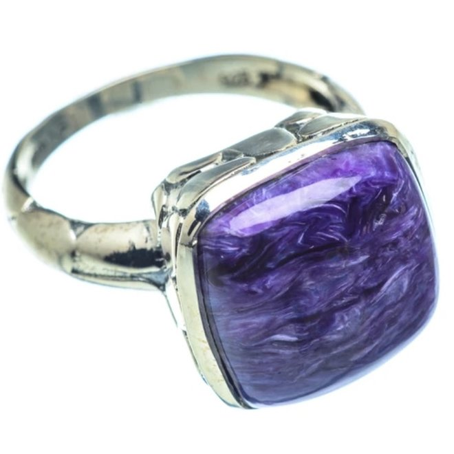 Charoite Ring - Size 8.5 - Sterling Silver Square