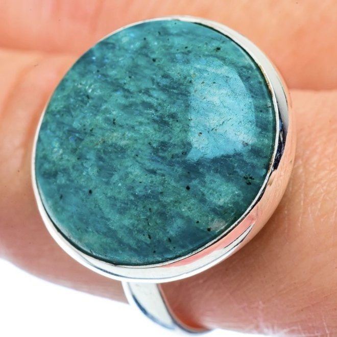 Amazonite Ring - Size 11.25 - Sterling Silver Large Round