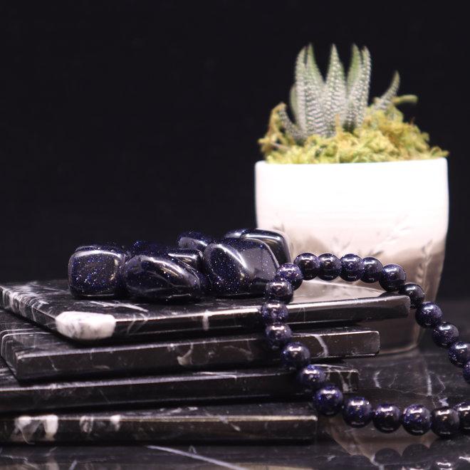 Blue Sandstone/Goldstone Bracelet-8mm
