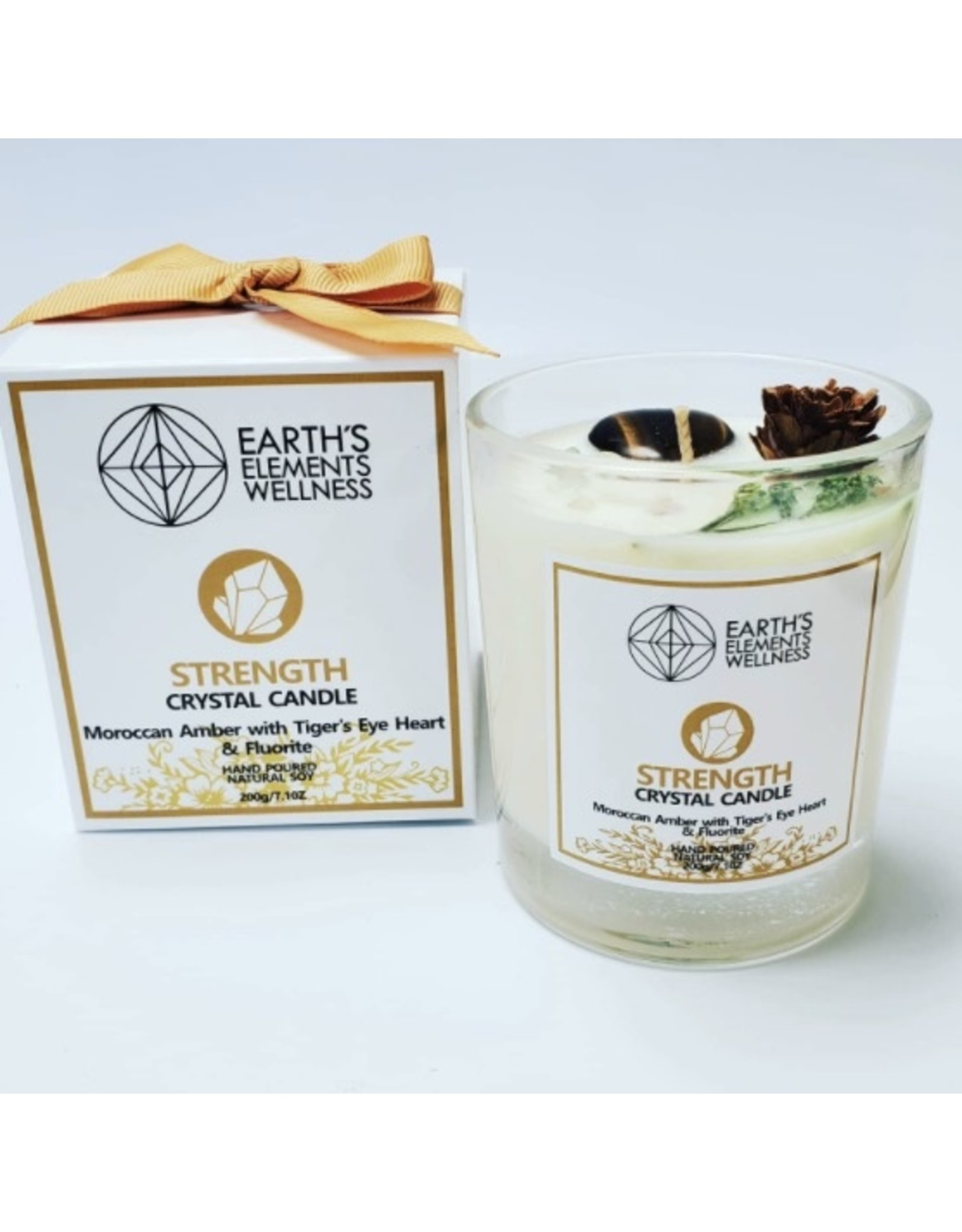 Candle -Earth Element's Crystal  - Strength