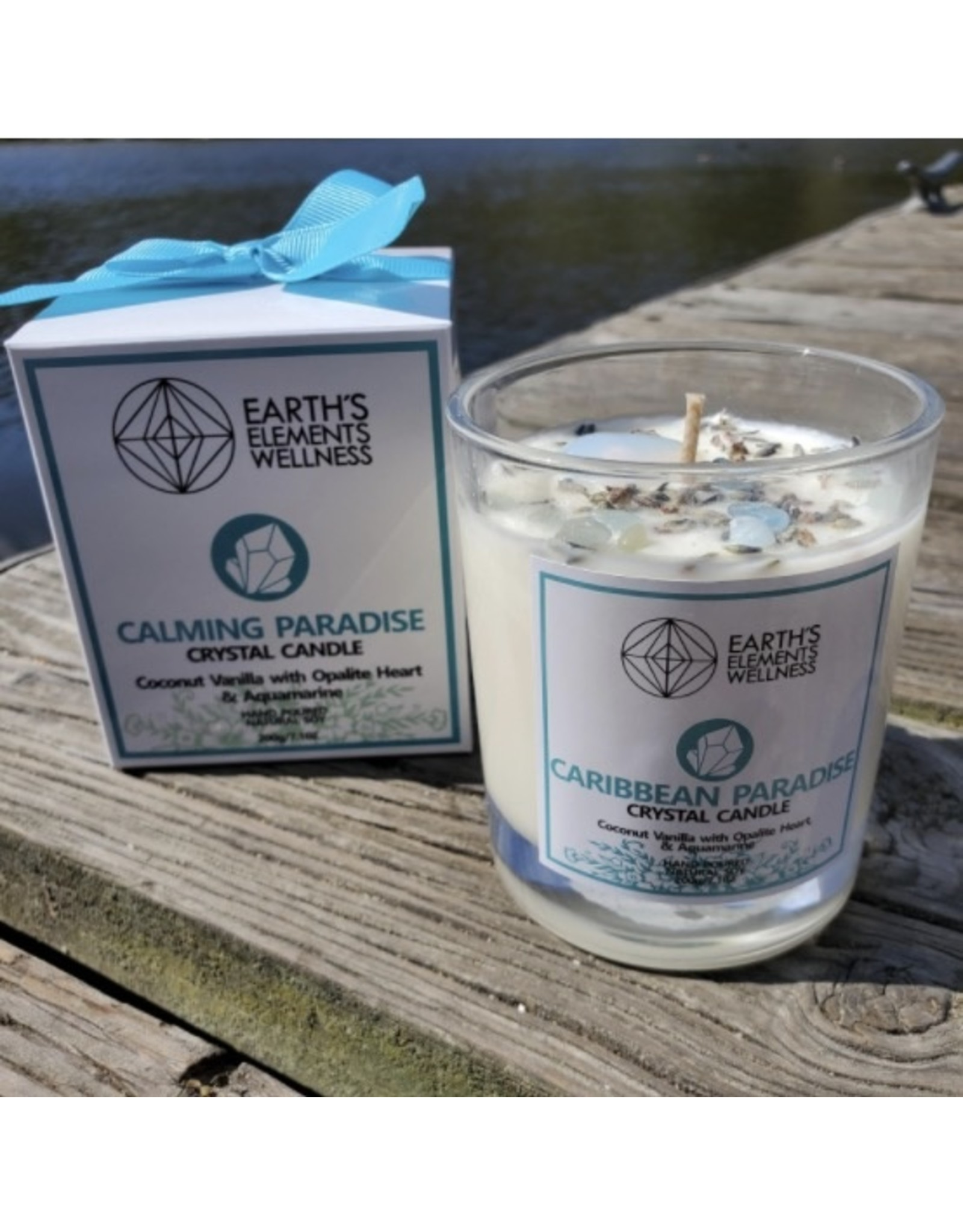 Candle -Earth Element's Crystal  - Calming Paradise