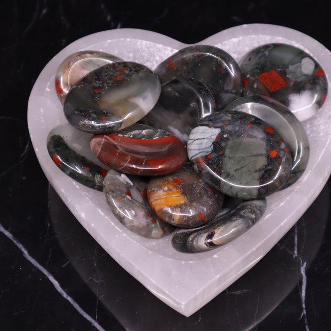 Bloodstone/Heliotrope Worry Stone -Large Oval