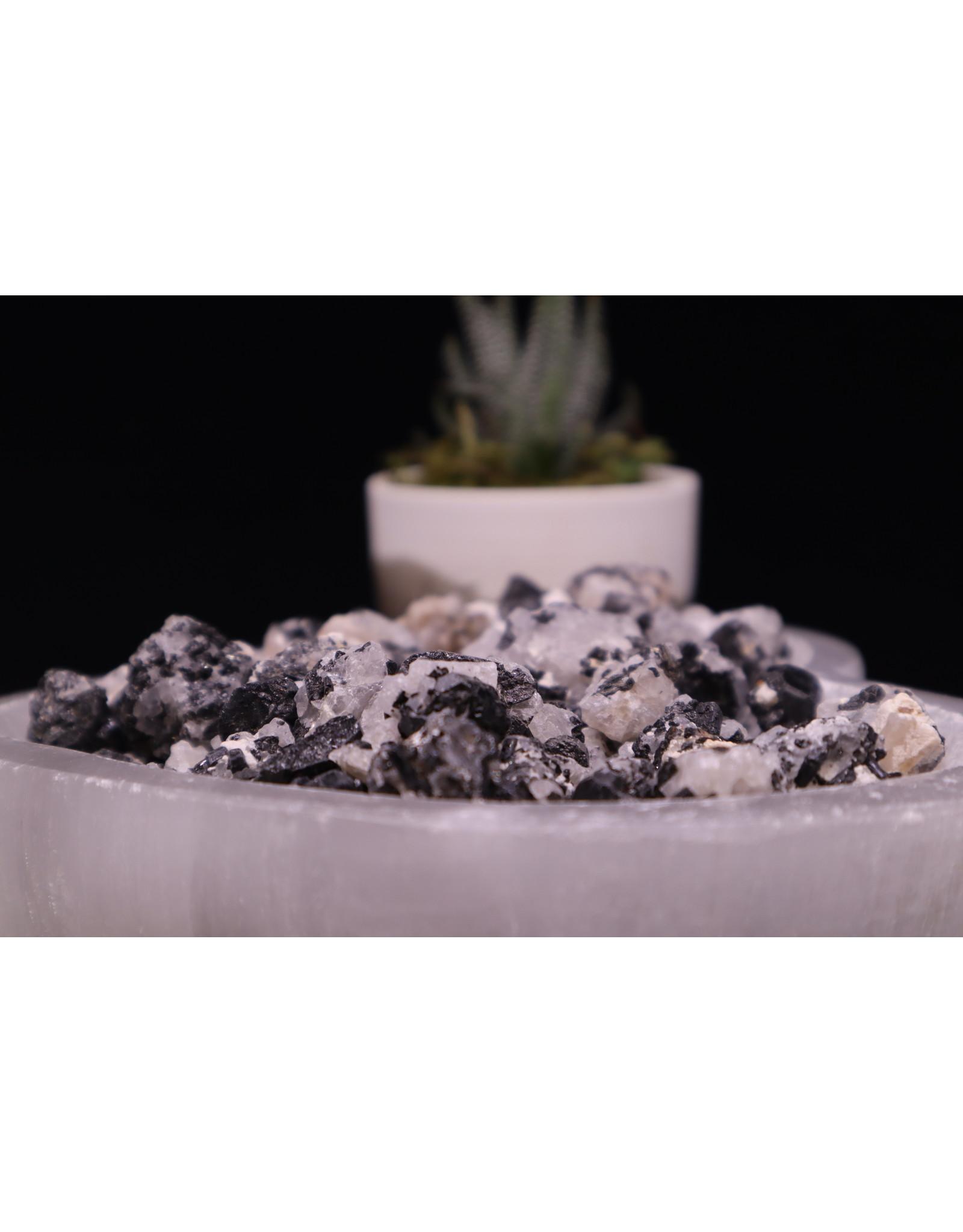 Black Tourmaline (Tourmalated) on Quartz - Rough Raw Natural