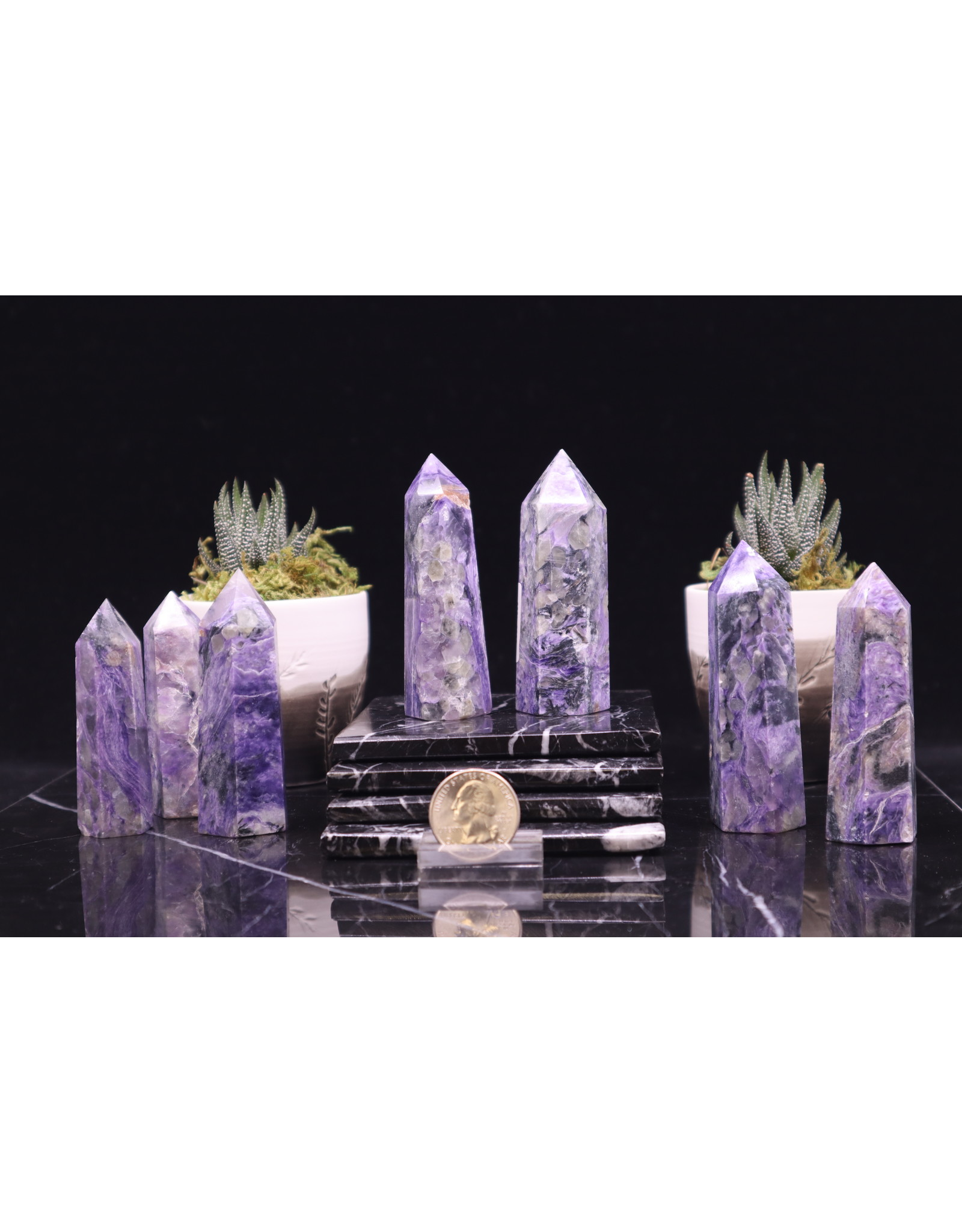 """Charoite Tower Point -Small (2-4"""")"""
