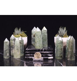 Tourmalated Green Prehnite Tower/Generator/Point-3""