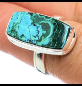 Malachite In Chrysocolla Ring - Size 6.5