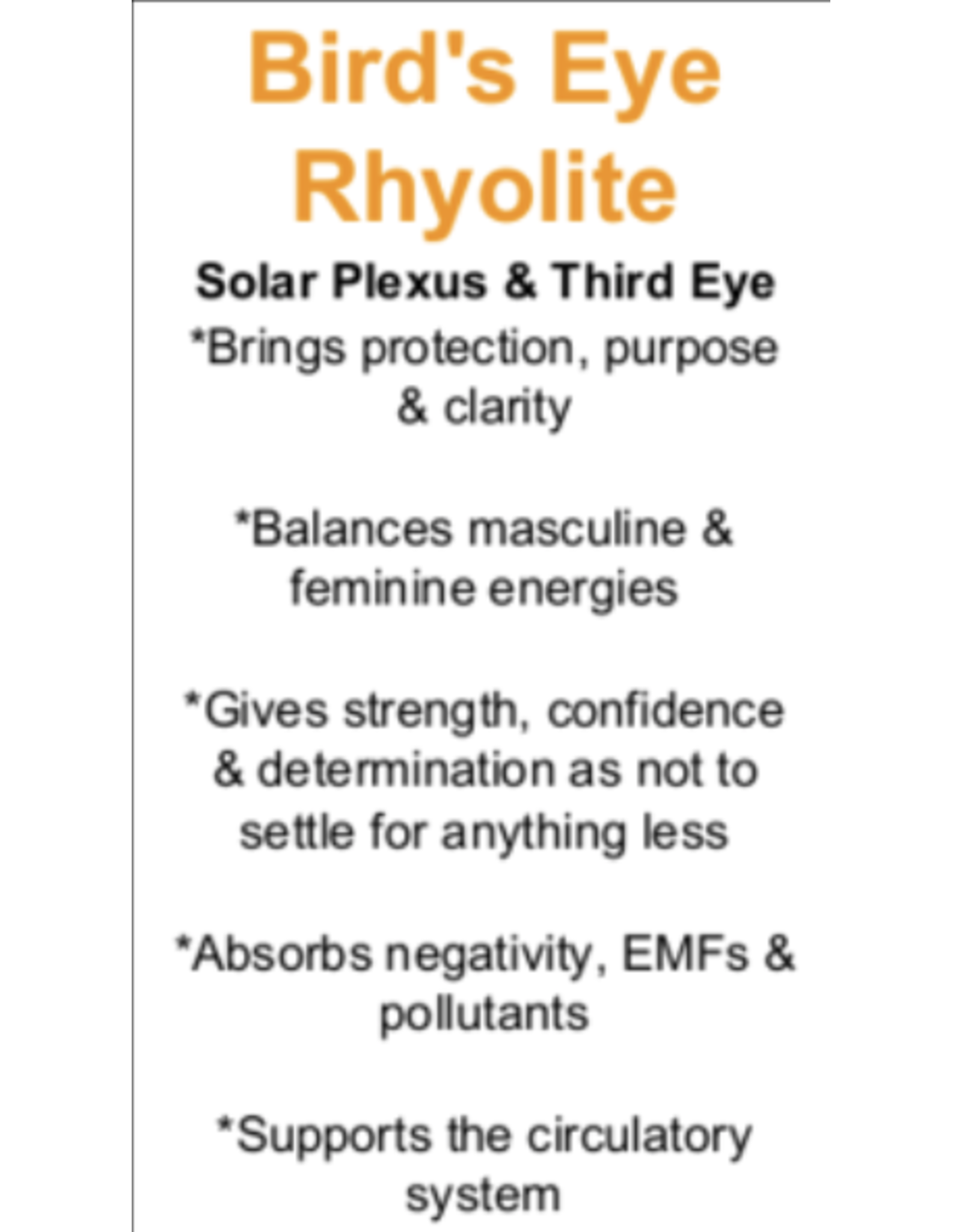 Bird's Eye Rhyolite - Card