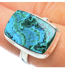 Malachite In Chrysocolla Ring - Size 9