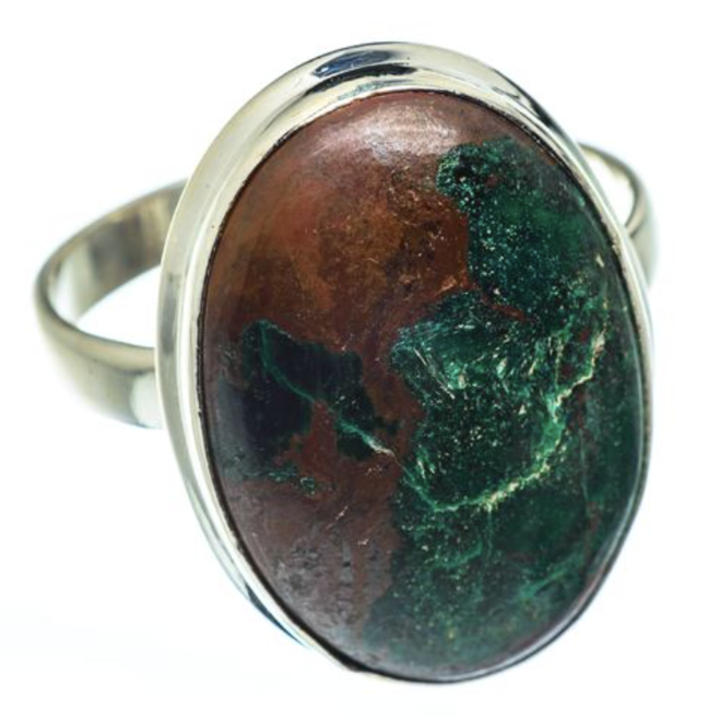 Chrysocolla Ring - Size 12.75 - Sterling Silver Large Oval