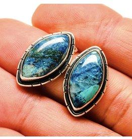 Chrysocolla In Quartz Earrings - Stud