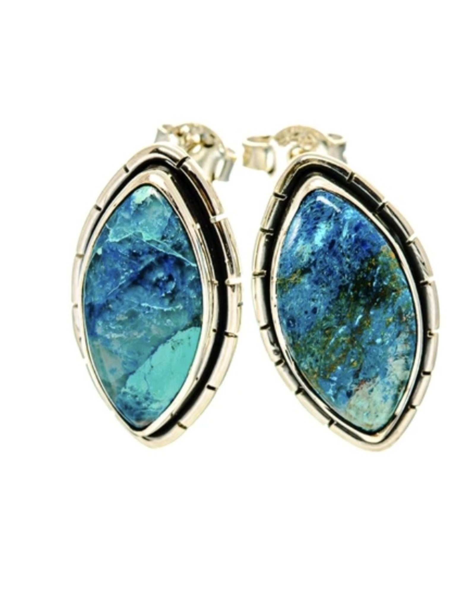 Chrysocolla In Quartz Earrings - Stud