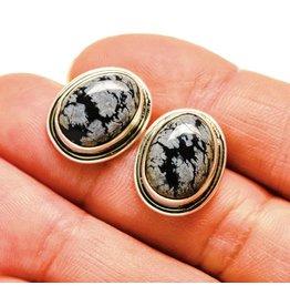 Snowflake Obsidian Earrings - Stud