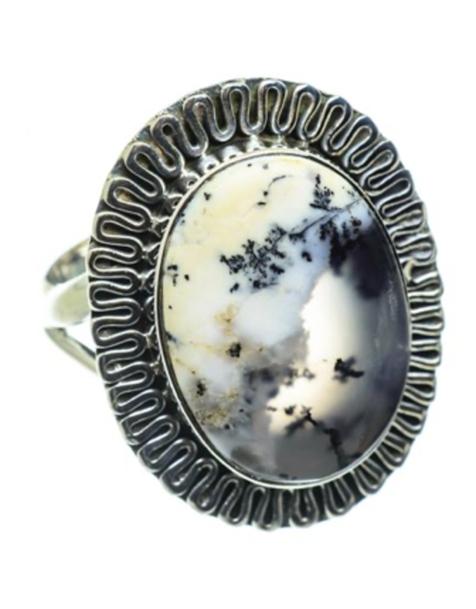 Dendritic Opal Ring - Size 7