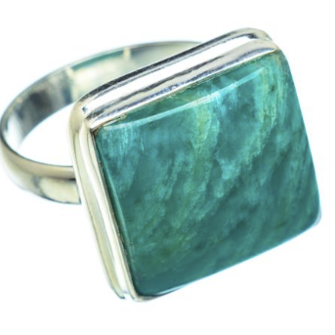 Amazonite Ring - Size 8.75 - Sterling Silver Square